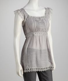 Take a look at this Silver Lace Empire-Waist Tank by Casually Styled: Women's Tops on @zulily today!