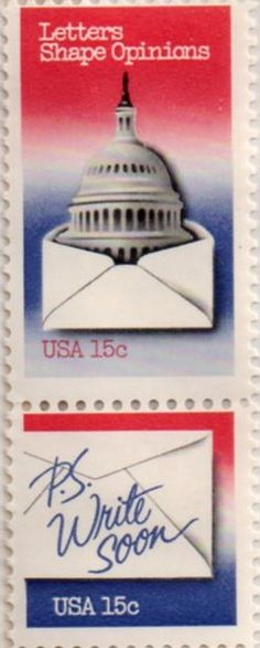 US postage stamp, 15 cent.  Letters Shape Opinions, P.S. Write Soon.  Issued 1980.  Scott catalog 1809, 1810.