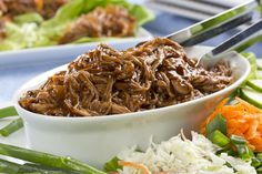 Who would& thought that with just 4 ingredients you can make the tastiest shredded pork ever, and right in your slow cooker, too! Our Down-Home Shredded Pork gets it& special flavor from a combination of BBQ sauce and root beer, and when ya slow c Diabetic Slow Cooker Recipes, Mr Food Recipes, Crockpot Recipes, Cooking Recipes, Diabetic Foods, Dinner Recipes, Shredded Pork Recipes, Diet Root Beer, Pressure Cooker Cookbook