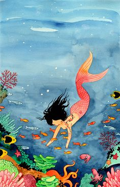 Mermaid - Fine Art color archival print - Bright Watercolor Painting by stasiab on Etsy - Love mermaid whimsy! Unicorn Fantasy, Fantasy Mermaids, Real Mermaids, Mermaids And Mermen, Fantasy Art, Cosplay Steampunk, Mermaid Art, Watercolor Mermaid, Mermaid Tails