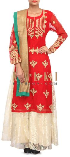 Buy Online from the link below. We ship worldwide (Free Shipping over US$100). Product SKU - 304298.Product Link - http://www.kalkifashion.com/red-straight-palazzo-suit-adorn-in-thread-embroidery-only-on-kalki.html