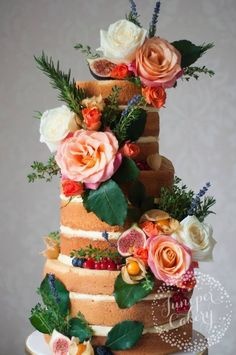 Chic orange flower wedding cake; Featured Cake: Juniper Cakery
