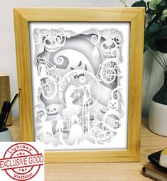 Nightmare Before Christmas LightBox Shadow Light Box, Diy Shadow Box, Shadow Box Frames, Paper Cutting Templates, Art Template, 3d Paper, Paper Crafts, 3d Cuts, Christmas Shadow Boxes