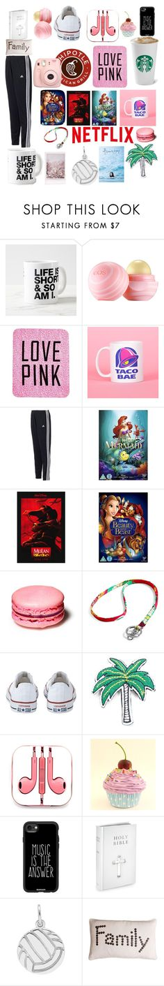 """""""This is Me♥️😂😜"""" by randomgirl03 ❤ liked on Polyvore featuring Eos, Victoria's Secret, adidas, Disney, Vera Bradley, Converse, R.J. Graziano, PhunkeeTree, Casetify and Thro"""