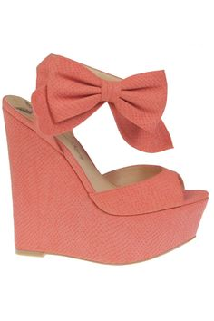 Coral Bow Wedges