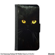 Black Cat Wallet Case for Samsung Galaxy S4, S5 or S6