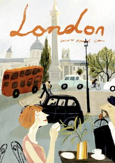 art by Oamul Lu Art And Illustration, London Illustration, Mountain Illustration, Illustrations And Posters, Vintage Travel Posters, Photos Du, Storyboard, Art Inspo, Illustrators