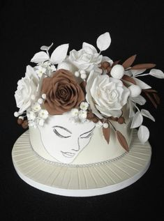White and brown - cake by Anka Pretty Cakes, Beautiful Cakes, Amazing Cakes, Fondant Cakes, Cupcake Cakes, Cupcakes, Unique Cakes, Creative Cakes, Bolo Fack