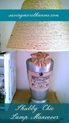Shabby Chic Lamp Makeover using sisal, burlap, and paint. See how I did it and check out before and after pictures.