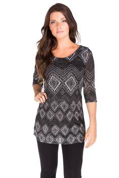 Aztec Pattern 3/4 Sleeve Dress
