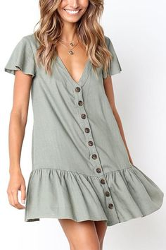 Orsle V Neckline Button Down Relaxed Mini Dress – ORSLE