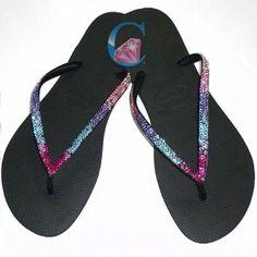 4718fdba37a7 Thin Strap Havaianas Crystal Clear SWAROVSKI® embellished Havaiana  gradation colour Flip Flops - 3 Rows