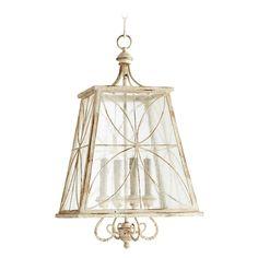 Quorum Lighting Salento Persian White with Mystic Silver Pendant Light with Square Shade | 6816-4-70 | Destination Lighting