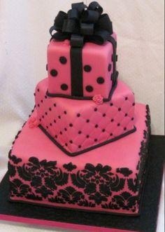 Pink black elegant beautiful bow tiered pearls wedding/birthday cake