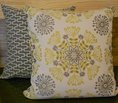 Yellow and gray floral medallion decorative by pillowflightpdx, $28.00 - LOVE the patterns and colors! want to do my room or bathroom in gray and yellow