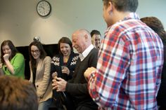 OC editor Gary pops a bottle of bubbly at Our Canada's 10th Birthday Party