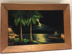 Vintage Tropical Black Velvet Tiki Hawaiian Polynesian Painting Palm Trees and Paradise Vintage Hawaii, Gumball, Velvet Painting, Hawaii Style, Tropical Art, Vintage Velvet, Decoration, Cat Art, Dekorasyon