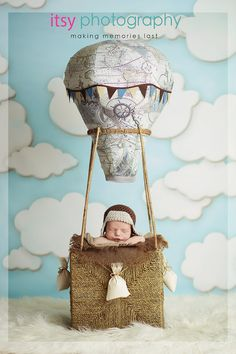 Travel Theme, nursery travel theme, newborn baby in a hot air balloon prop, aviator hat and hot air balloon basket, Cute idea for newborn baby photography Baby Decor, Baby Shower Decorations, Ballons Fotografie, Balloon Basket, Traveling With Baby, Hot Air Balloon, Balloon Party, Travel Themes, Toy Boxes