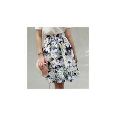 Linen Blend Flower-Print A-Line Skirt ($57) ❤ liked on Polyvore featuring skirts, women, flower print skirt, floral skirt, floral knee length skirt, floral print skirt and a line skirt