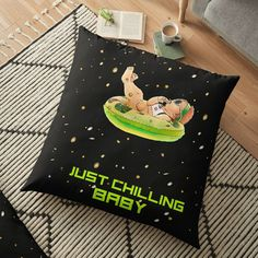 'Just Chilling Baby' Floor Pillow by Nasa Photos, Free Stickers, Pillow Design, Floor Pillows, Chill, My Arts, Vibrant, Flooring, Art Prints