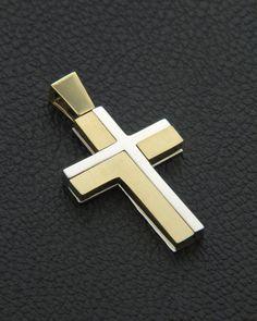 Σταυρός βάπτισης χρυσός & λευκόχρυσος Κ14 δύο όψεων Mens Crosses, Wall Crosses, Cross Art, Christian Symbols, Holy Cross, Cross Jewelry, Cross Paintings, Celtic Designs, Religious Jewelry