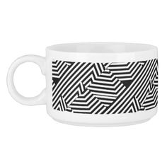Trendy Black and White Geometric Stripes Pattern Chili Bowl