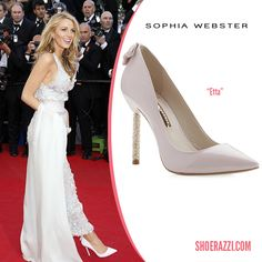 Blake Lively in Sophia Webster Etta Pumps in Pink Patent Leather & Crystal Embellished Pin Heel - ShoeRazzi