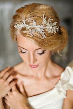 Diadema novia encaje encaje de novia tocado por FancyBOWtiqueBridal