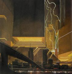 Syd Mead's vision of the Los Angeles skyline circa 2019. Images courtesy Bonham and Butterfields.