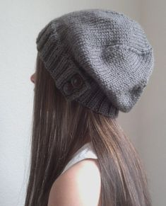 6c729a159bf Knit slouchy hat with button s - PURPLE (more colors available - made to  order)