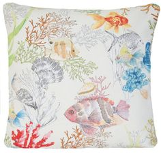 Fish Cushion Cover Sea horse Pillow Throw Case Made of Printed Cotton Fabric Pattern Coral Reef Fish Designers Fabric Yellow Blue Orange Red