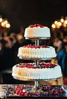 Brides: An Italian Millefoglie Cake Topped with Fresh Fruit. A traditional Italian wedding cake of millefoglie with mixed berries and currants, created by Cocoa Dolce.