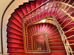 red staircase, Hotel Erzherzog Rainer, Vienna, Austria. by Dmitry Yemelin