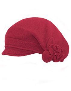 3637d65ab5a67 Amazon.com  Dahlia Women s Reversible Wool Beret Hat - Flower Accented -  Black  Clothing