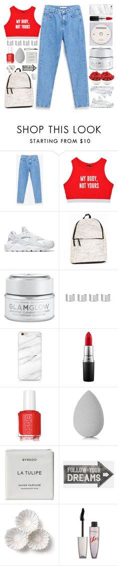 """Mom Jeans"" by doga1 ❤ liked on Polyvore featuring Minga, NIKE, Pieces, GlamGlow, KEEP ME, Maison Margiela, MAC Cosmetics, Essie, beautyblender and Byredo"