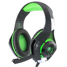 BlueFire 3.5mm Gaming Headset with Microphone and Volume ControlWired Over Ear LED Light Stereo Heaphones for PlayStation 4 PS4 Xbox onePC (Green in Black)