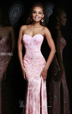 Beaded Slit Gown by Sherri Hill