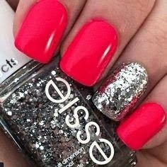 Hot! Sexy and Everything Nice. RED! Can't go wrong with this vibrant Red color & Essie glitter.