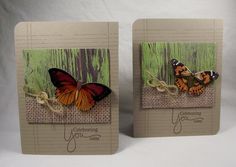 handmade cards ,,, kraft base ,,, brown ink  stamping of notebook paper design and sentiment ... panel that looks like scrapbook paper with peeling paint and burlap bag texture ,,, likelike butterbflies popped on top .. like this design ..