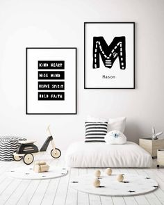 Kind Heart Wise Mind Brave Spirit Bold Faith Print in Black and White is a great inspiration and reminder for your kid (and you!) of the main values in life.
