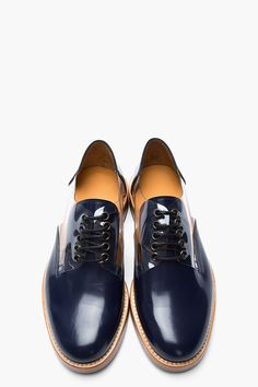 MARC JACOBS Navy Transparent-Paneled Patent Leather Reveal Derbys