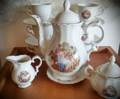 Vintage Gareis, Kuhnl and Cie / Bavaria GKC Tea Set Pre World War II Victorian Portrait Teapot by AbateVintage on Etsy