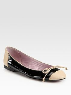RED Valentino Frilly Patent Leather Colorblock Ballet Flats