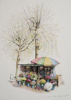 펜화 일러스트 Painting Lessons, Painting & Drawing, Art Sketches, Art Drawings, Color Pencil Sketch, City Sketch, Korean Art, Urban Sketching, Cool Landscapes