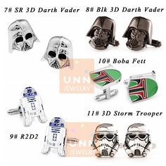 50% OFF Set of 9,8,7,6,5,1 Star Wars Cufflinks Mens Darth Vader Movie Cuff links Superhero Novelty Groomsman Cufflink Fathers Day Anniversary Wedding Jewelry Gifts for him, This offer is for a pair or set of 5,6,7,8,9 pairs cufflinks for groomsman. Place order just today!!!  ▲▲▲ Please written me a note at checkout with your preferences if set of 5,6,7,8,9 order. 1# Red Rebel Alliance 2# Blk Rebel Alliance 3# Storm Trooper 4# Darth Vader 5# Galactic Empire 6# Star Wars 7# SR 3D Darth Vader…