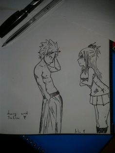 Fairy Tail- Lucy and Natsu . Fairy Tail Lucy, My Drawings, My Love, Art, My Boo, Craft Art, Kunst, Gcse Art, Art Education Resources