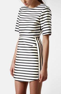 topshop stripe a-line dress in satin.