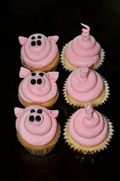 Pig Cupcakes for a Farm Themed Birthday Party