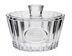 Reeses Crystal Candy Dish with Lid and Frosted Logo Heirloom-Quality Bowl >>> See this great image  : Dining Entertaining