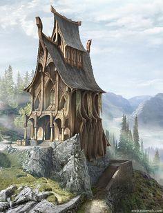 Kleine tempel gebouwd door de elven. In de achtergrond, de uitlopers van het Martolia Gebergte.